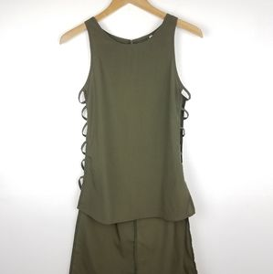 Sheinside | Army Green Tank Tunic Cut Outs